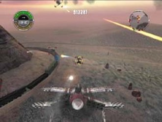 Crimson Skies: High Road to Revenge - The player, in the standard Devastator aircraft, fires at a target gun truck.  From left to right on the game's HUD are health, ammo, and special meters, cash on hand, and a radar display.