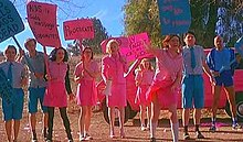 "Three young women and three young men stand in a line, with an older woman and an older man. One young woman stands behind the rest, with her back to a bright pink van. The women wear vivid pink skirts and tops and the men wear vivid blue shorts and shirts. They hold placards, in bright blue and pink, which display statements including ""Silly Faggots — Dicks are for Chicks"" and ""Procreate"". One young woman, without a placard, throws a rock in front of her."