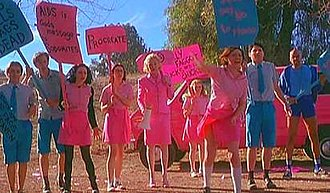 But I'm a Cheerleader - The True Directions campers picket the ex-ex-gays. The intense colors were intended to show the artificiality of gender construction.