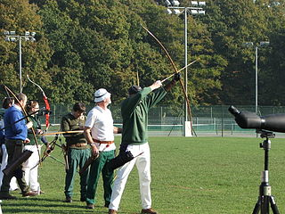 Clout archery Form of archery involving shooting at flags from a distance