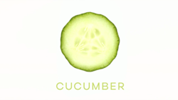 A sliced cucumber shown from the narrow end, with the title of the show–Cucumber–in green block capitals below.