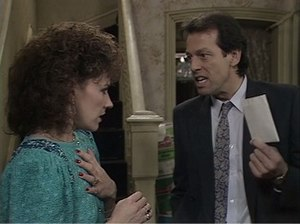 Soap opera - A scene from EastEnders on Christmas Day 1986, watched by 30.15 million viewers. The story, in which Den Watts served his wife Angie with divorce papers, was the highest-rated soap episode in British history, and the highest-rated program in the UK during the 1980s.