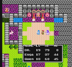 Dragon Quest II - The party wanders in a castle.