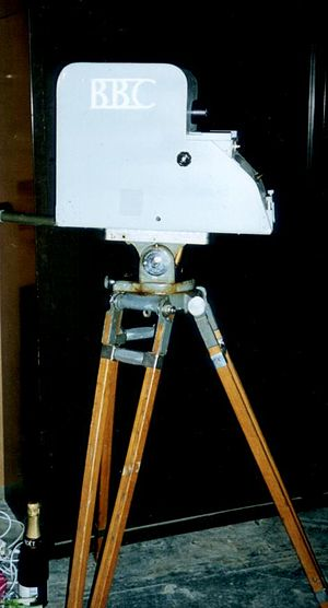 405-line television system - A mock-up of a 1930s EMI Emitron 405-line television camera, constructed for the 1986 BBC drama Fools on the Hill