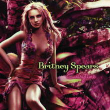 "Image of a blonde woman. She is sitting in a giant purple flower wearing a dress in the same style. In the middle of the image, the words ""Britney Spears"" are written in green capital and small letters. Below them, the word ""Everytime"" is written in purple italics."