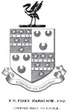 Fiske Goodeve Fiske-Harrison - Fiske-Harrison of Copford Hall Coat of Arms, Burke's Armoury (1848)