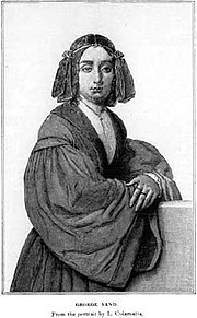 George Sand � From the portrait by Luigi Colamatta