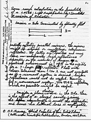 The first page of Gordon Gould's famous notebook, in which he coined the acronym LASER and described the essential elements for constructing one.