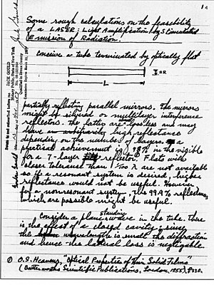 Gordon Gould - The first page of the notebook in which Gould coined the acronym LASER and described the essential elements for constructing one.