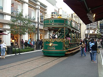 The Grove at Farmers Market - The trolley takes shoppers on a short ride from The Grove to Farmer's Market