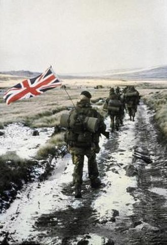 "Yomp - Heading into Stanley June 1982, The ""Yomper,"" an iconic image of the Falklands War."
