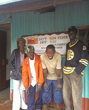 Cinema of Kenya - Aspiring Kenyan actors outside the Hot Sun Foundation offices in Kibera, Nairobi