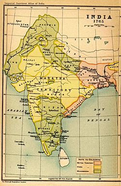"""Nawabate of Arcot, on the Bay of Bengal, marked as """"Carnatic"""" at its height of power."""