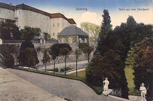 Jánský vrch - Castle Jánský vrch, view from the castle gardens (ca. 1920)