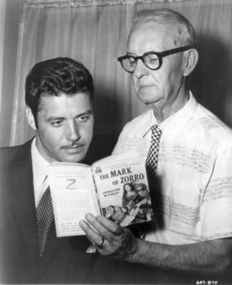 Johnston McCulley - Johnston McCulley (right) with Zorro's television portrayer, Guy Williams, c. 1958