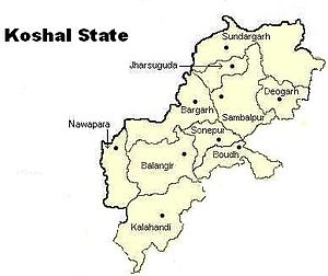 Western Odisha - Proposed Kosal state map, consisting of the 10 districts of present Western Odisha