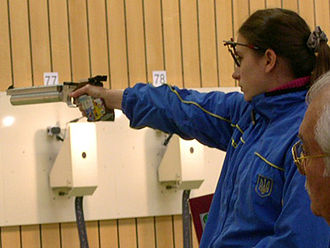 ISSF 10 meter air pistol - Olena Kostevych in the air pistol event at the World Cup '06 in Munich.
