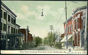 Shelbyville, Kentucky - A 1910 illustration of Main Street