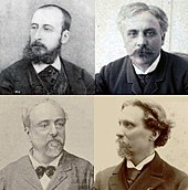 four head and shoulder photos of middle-aged nineteenth-century men in semi-profile. All are wearing suits and have facial hair.