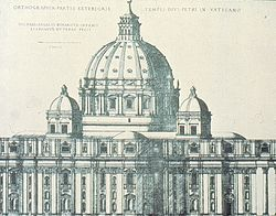 St. Peter's Basilica VATICAN, This engraving shows the chancel end of the building much as it was built, except that the dome in this picture is completely semi-circular, not ovoid