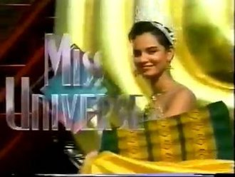 Miss Universe 1992 - (left) Title card (right) Lupita Jones Miss Universe 1991 riding on an elephant