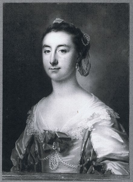 Black & white reproduction of a pastel portrait of a lady of the Montagu family, possibly Dorothy, wife of 4th Earl of Sandwich, or his sister Elizabeth Courtenay, by Francis Cotes, RA, 1758.