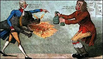 Progressive tax - A caricature of William Pitt the Younger collecting the newly introduced income tax.