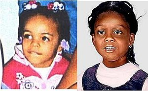 Murder of Erica Green - Image of Erica Green (left) compared to a facial reconstruction created in effort to identify her