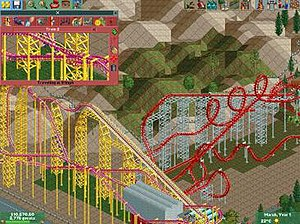 RollerCoaster Tycoon - The first two games used this isometric viewpoint.  Shown is ''X'' and ''Viper'' at Six Flags Magic Mountain in RollerCoaster Tycoon 2.
