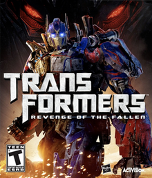 "A battle-damaged Optimus Prime faces the camera's view. The words ""Transformers: Revenge of the Fallen"" are embossed on the center of the cover. Sparks are seen in the lower background. An ESRB rating of ""T"" sits in the lower left corner, with the Hasbro and Activision logos in the lower right."