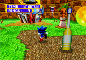 """Sonic Jam - The player, as Sonic, may freely explore the game's 3D environment, """"Sonic World"""", in order to view a range of Sonic the Hedgehog-related content and information."""