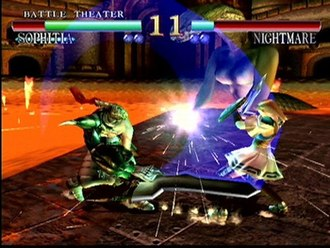 Soulcalibur (video game) - Nightmare fighting against Sophitia in the Dreamcast version