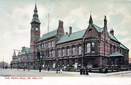 A tinctured period postcard of the new (and current) Town Hall as it would have appeared in 1876.
