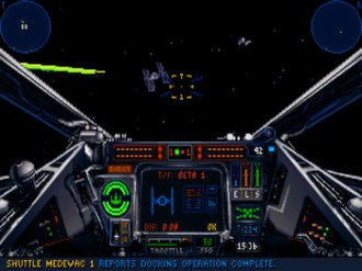 "Star Wars: X-Wing - A TIE fighter fires past the player's X-wing during the fourth operation of the first tour of duty. The TIE fighter model consists of 3D polygons; most previous simulators used bitmapped images instead. The bars over the ""ELS"" text (right-center) indicate the player's power allocations to engines, lasers, and shields."