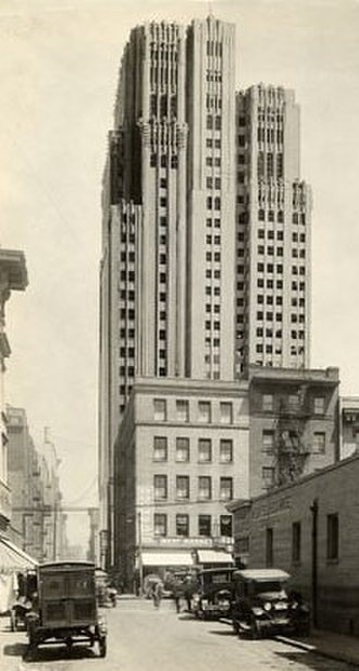 Timothy L. Pflueger - The newly built Pacific Telephone & Telegraph Company Building towered over its neighbors.