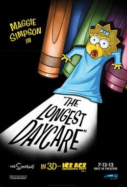 A baby, Maggie Simpson, backs into a corner of oversized crayons with a scared look on her face. The title of the short is cast in a shadow below her.