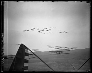 United States Army Air Corps - Formations of Keystone LB-7s (lower) and Boeing P-12s (upper) on aerial maneuvers over Burbank, California, 1930