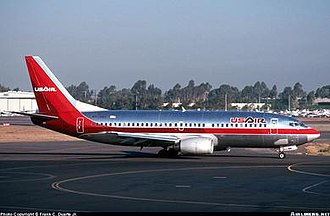 USAir Flight 427 - N513AU, the aircraft involved in the accident, taxiing at John Wayne Airport in 1989.