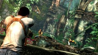 Uncharted: Drake's Fortune - During combat, the player as Nate (left) can use corners and walls as cover, then use blind or aimed fire from cover against his opponents.