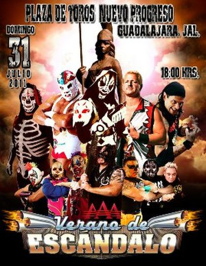 Verano de Escándalo (2011) - Promotional poster featuring La Parka, Dr. Wagner Jr., L.A. Park, Jeff Jarrett, Cibernético, Los Psycho Circus, Abyss and Los Perros del Mal