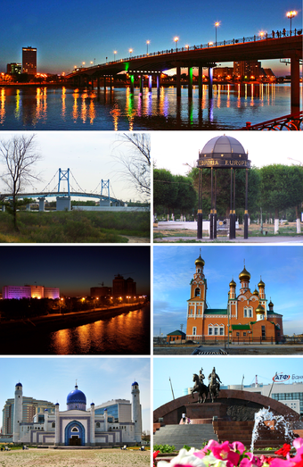 Clockwise from top: Central Bridge which connects Europe and Asia during the evening; Stand marking the European side of the city; Orthodox Church; Isatay and Makhambet Monument; Manjali Mosque; Ural River at night; Pedestrian Bridge over the Ural River.