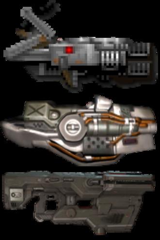 BFG (weapon) - The BFG 9000 as depicted in Doom (top), Doom 3 (middle) and in  Doom (2016, bottom)