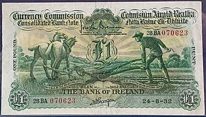 Ploughman series - £1 Ploughman note distributed by the Bank of Ireland in 1932