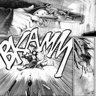 """Blade of the Immortal - The first """"death"""" of Manji. Blade of the Immortal uses a realistic art style that is unlike most traditional manga. Note this is a western edition so the Onomatopoeia has been modified"""
