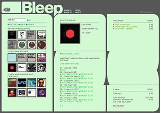 Bleep.com - A screenshot of Bleep at the time of its launch in January 2004