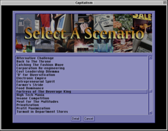 Capitalism (video game) - The scenario screen enables players to choose a scenario to play.