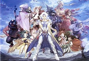 illustration by airi yoshioka featuring cecil in the middle alongside rosa left kain right as well as other playable characters featured in final - Quest Bergroer Sessel