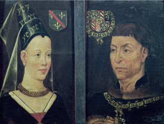 Isabella of Bourbon - Diptych depicting Charles and Isabella