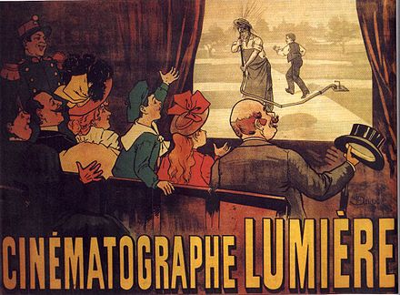 The world's first movie poster, for the comedy L'Arroseur Arrose, 1895 Cinematographe Lumiere.jpg