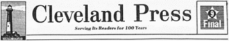 Cleveland Press - Nameplate for the Cleveland Press, circa 1978